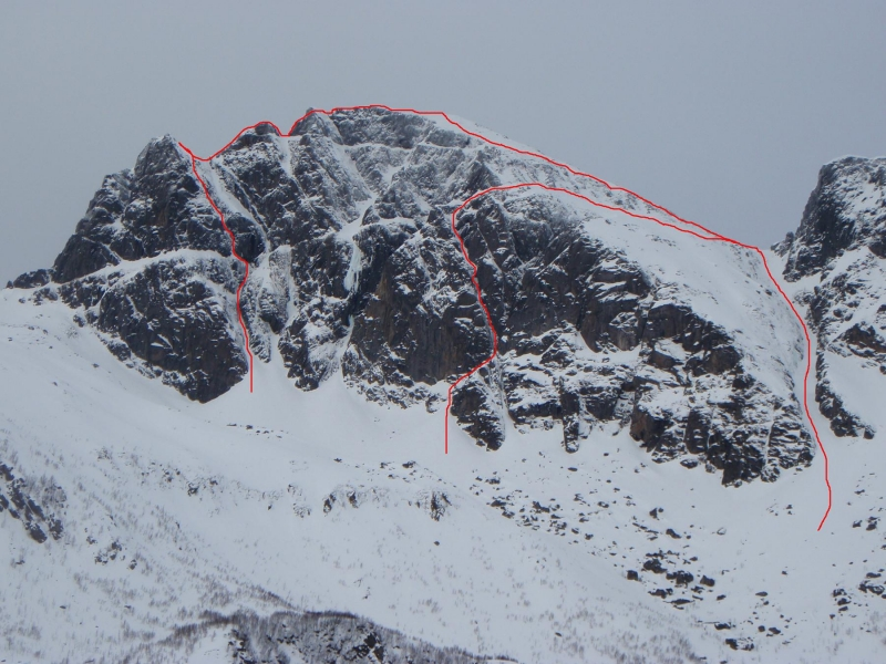 Climbs the rightmost line (descent gully) on the image