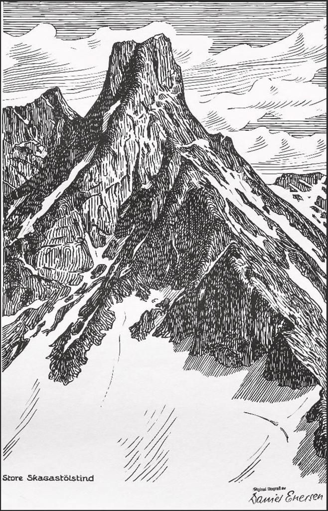 Litografi av Store Skagastølstind
