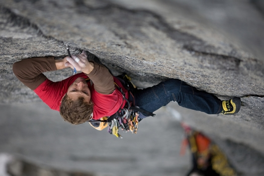 Much Mayr at the start of pitch 2 (7c+). Photo by Reinhard Fichtinger