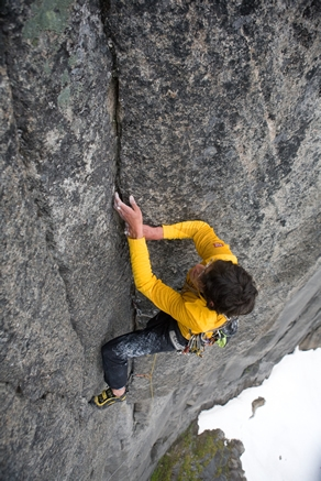 Hansjörg Auer just before the belay on pitch 3 (7c) Photo by Reinhard Fichtinger