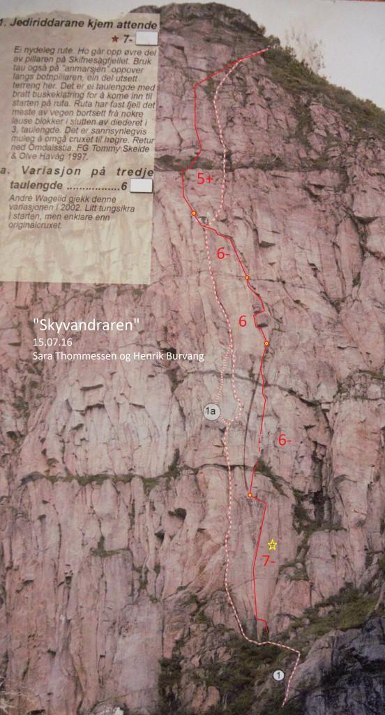 """""""Skyvandraren"""" merket med rødt. Stiplet linje er """"Jediriddarane kjem attende"""""""